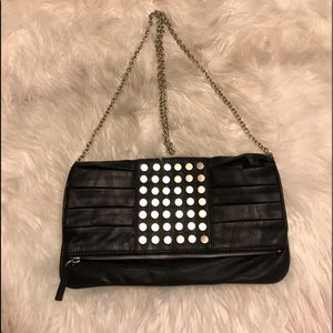 ALDO FAUX LEATHER STUDDED CLUTCH WITH CHAIN